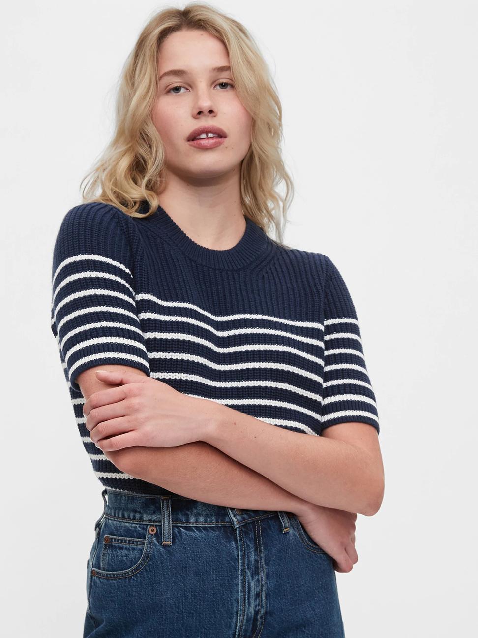 女裝 時尚條紋圓領針織短袖毛衣