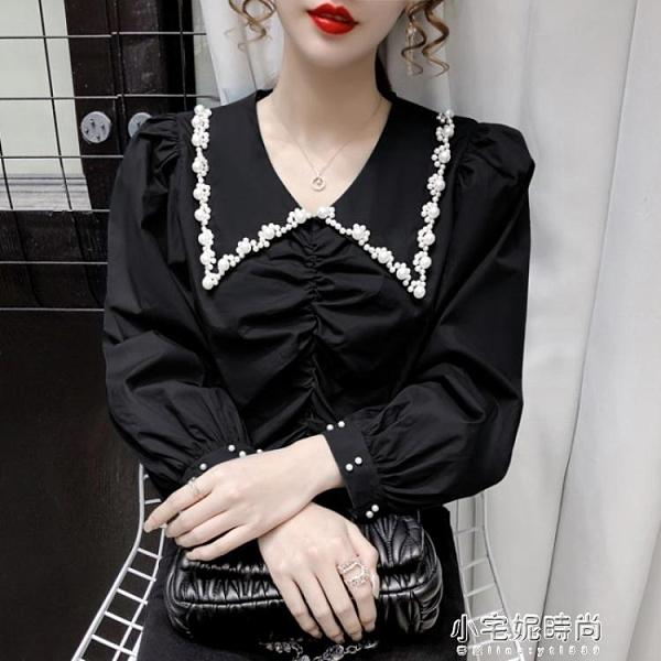 秋季新款法式設計感小眾娃娃領泡泡袖純色長袖雪紡襯衫女裝  【全館免運】