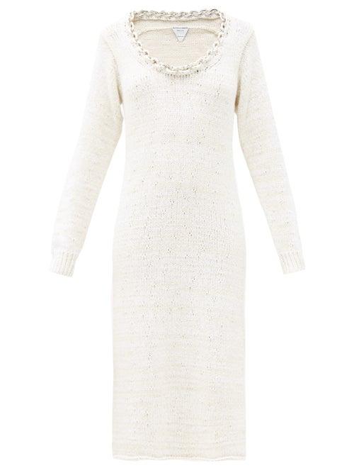 Bottega Veneta - Chain-neck Knitted Cotton-blend Dress - Womens - White