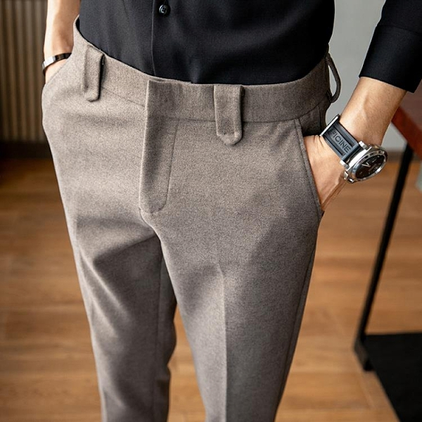 西裝褲 毛呢西褲男冬季韓版修身男士商務休閒褲加厚潮西裝褲小腳呢子褲子 装饰界