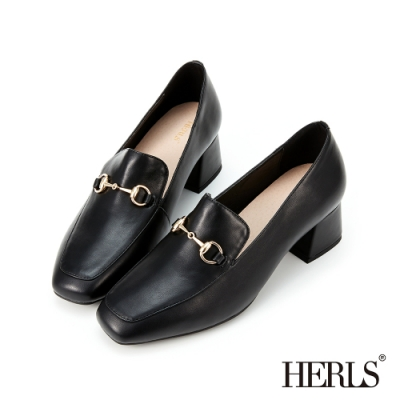 HERLS樂福鞋-馬銜釦小方頭粗跟樂福鞋-黑色