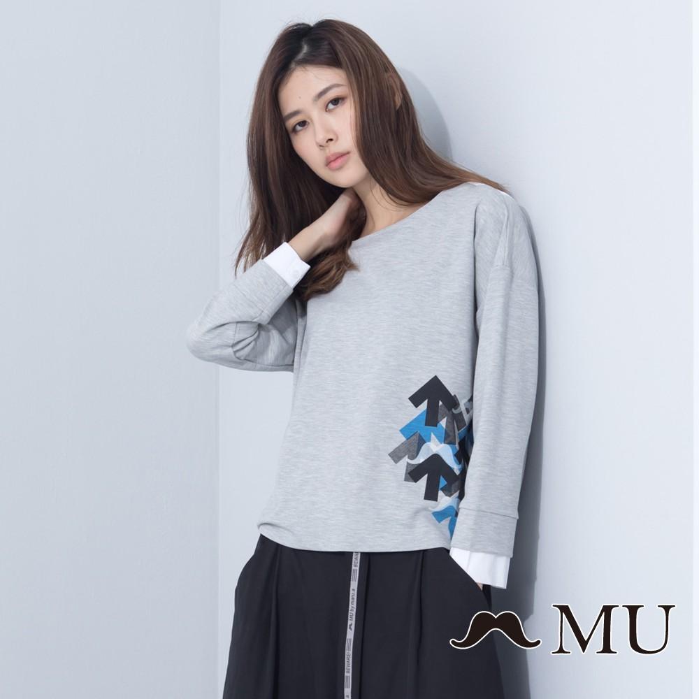 MU (99)袖口拼接箭頭印花上衣(灰色)