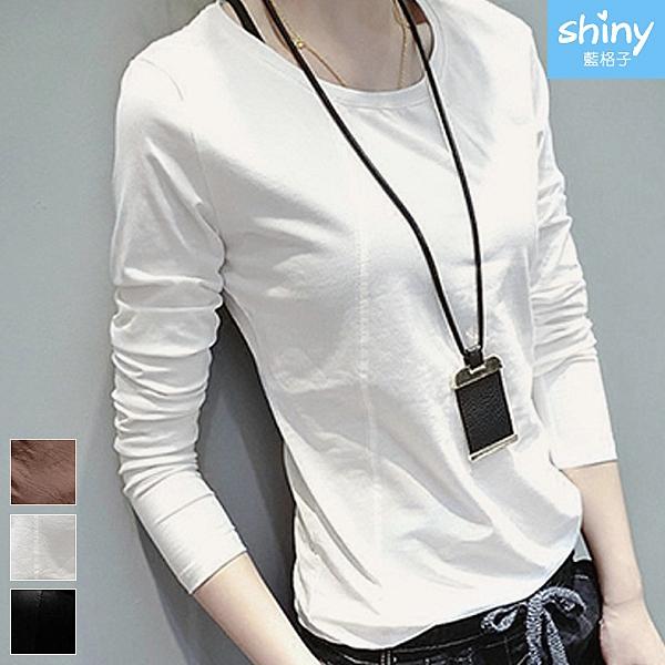 【V3189】shiny藍格子-簡約時尚.純色修身圓領長袖上衣
