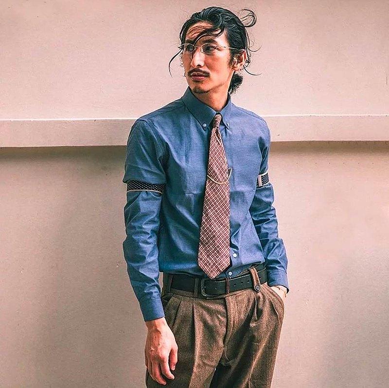 SOARIN英倫復古純棉商務扣領襯衫 - 藍色、白色|長袖 ( 93C239 )