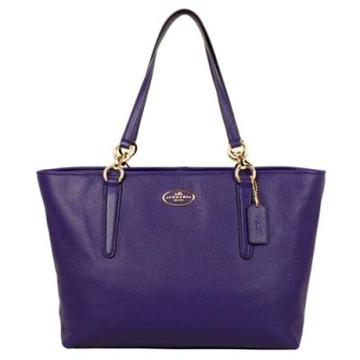 COACH 圓牌馬車真皮肩背包(紫)