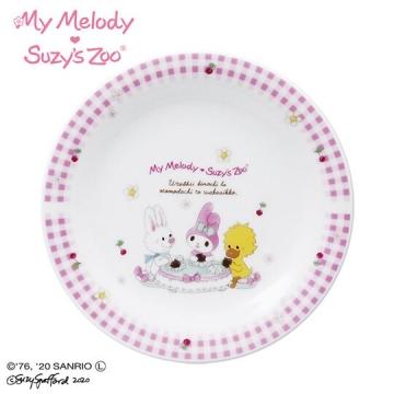 小禮堂 美樂蒂 x suzy's zoo 日製陶瓷圓盤《粉白》沙拉盤.點心盤.金正陶器