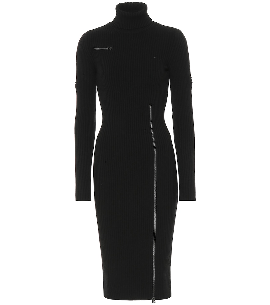 Wool-blend turtleneck midi dress