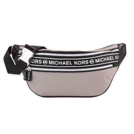 MICHAEL KORS -  白標字LOGO尼龍織帶側肩/胸背包(灰)