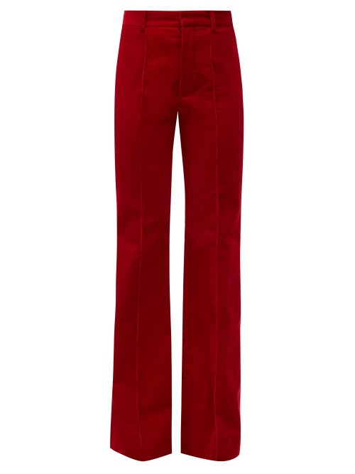 Saint Laurent - High-rise Cotton-corduroy Flared Trousers - Womens - Red