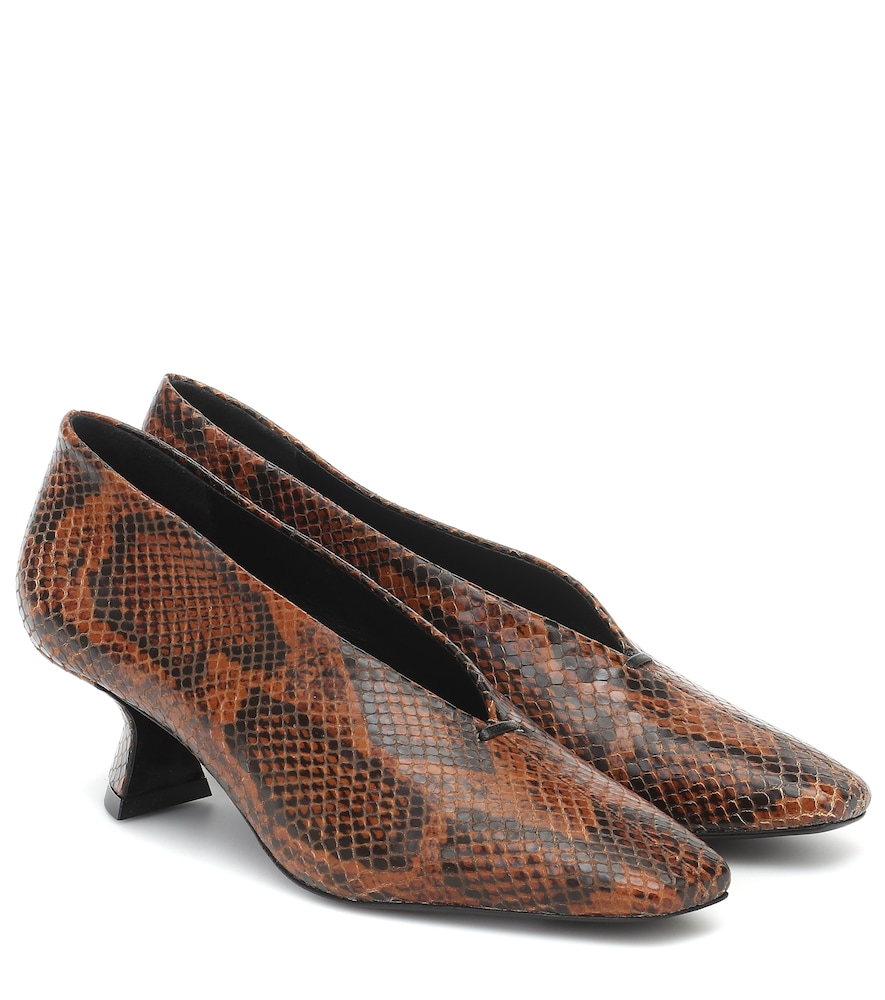 Claudia snake-effect leather pumps