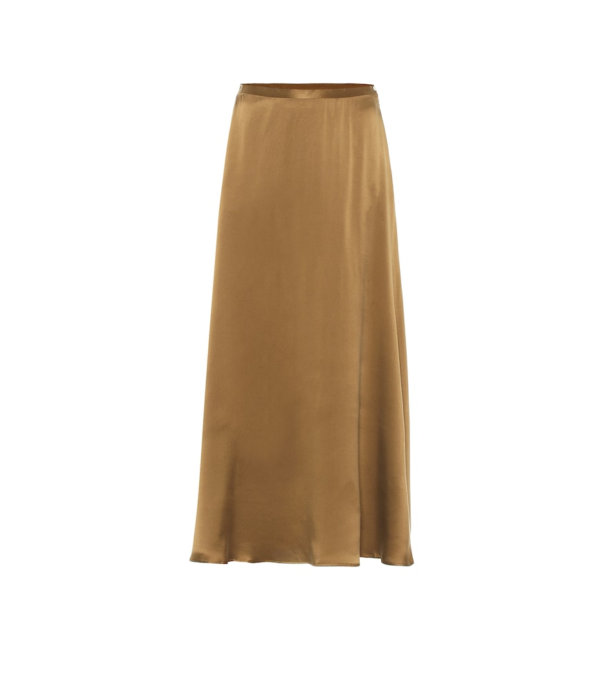 Seine silk satin midi skirt