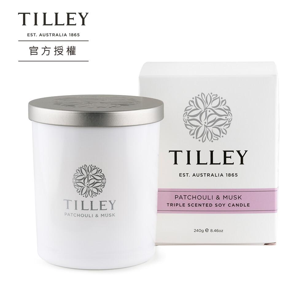 澳洲緹莉tilley微醺大豆香氛蠟燭(廣藿與麝香) 240g 香氛使用可達45小時以上