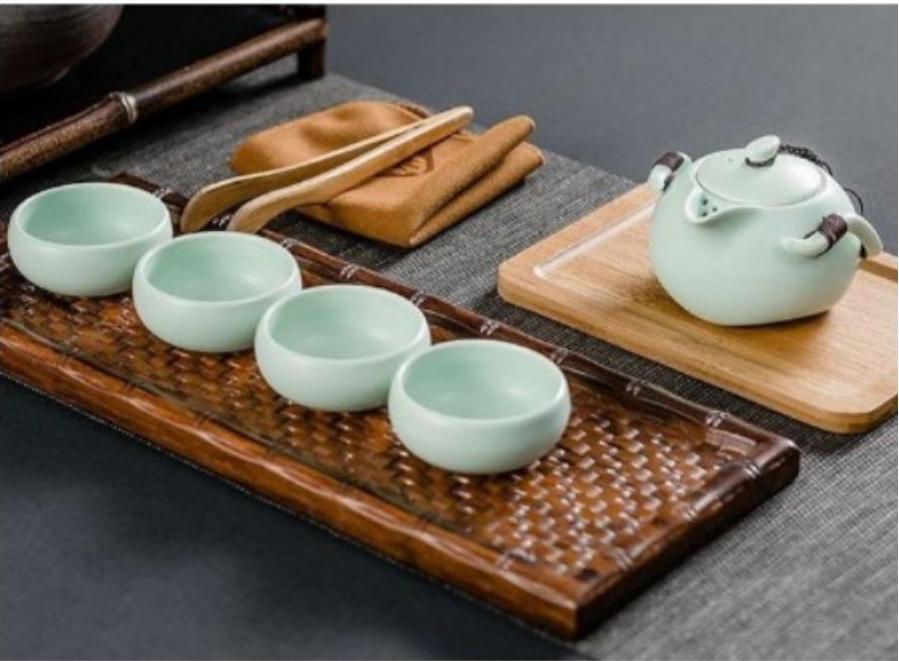 携带型茶具组4人份白瓷茶具组携带轻巧方便实用非常适合露营时三五好友相聚品茗