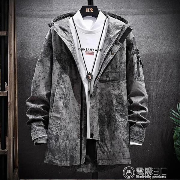 中長款外套男士韓版潮流休閒風衣2020春秋季男裝上衣工裝夾克冬裝 聖誕節免運