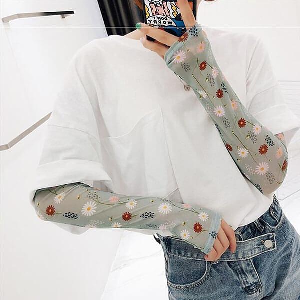 韓系冰絲袖套小花系列 獨具衣格 H573