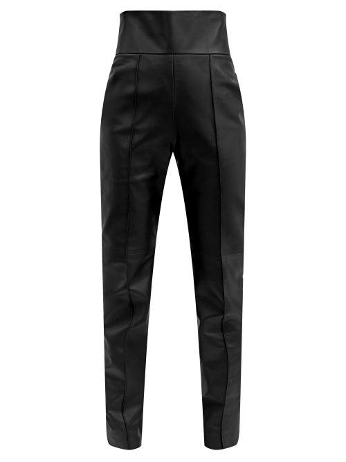 Alexandre Vauthier - High-rise Leather Slim-leg Trousers - Womens - Black
