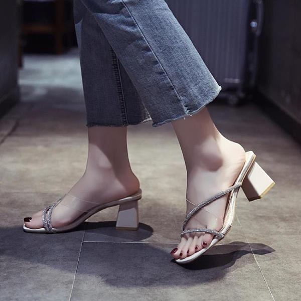 粗跟涼鞋女新款夏季高跟涼拖