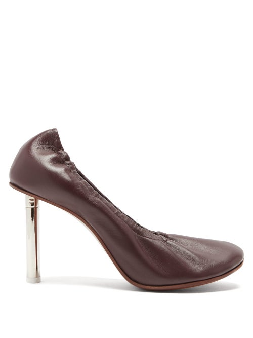 Vetements - Lighter-heel Leather Ballerina Pumps - Womens - Burgundy