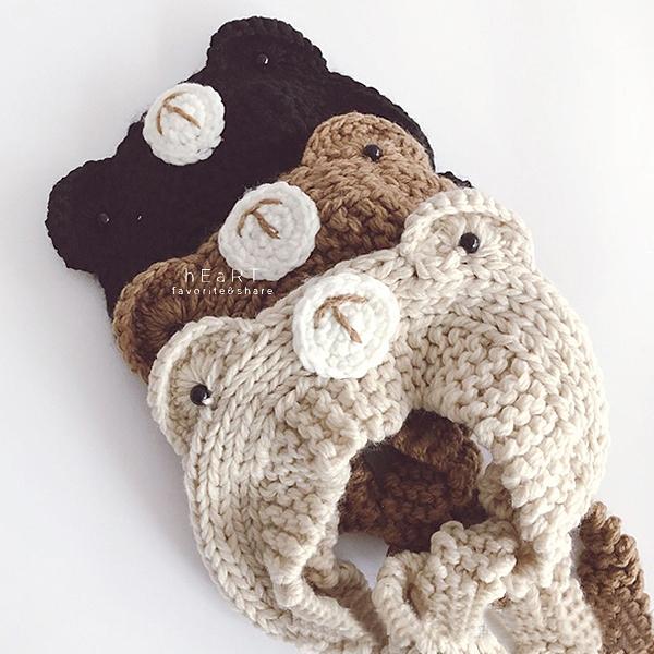 小熊造型耳朵針織髮帶帽 童帽 帽子