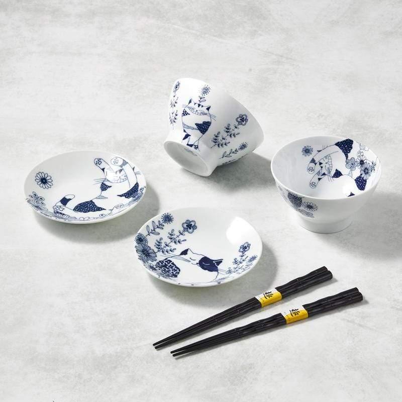 日本美濃燒-花園藍貓碗盤禮盒組-附筷(6件式)