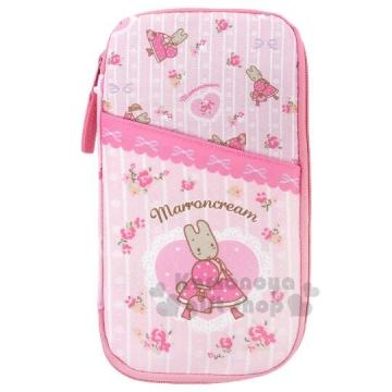 〔小禮堂〕兔媽媽 尼龍拉鍊多功能證件包《粉白.護照包.票據包》