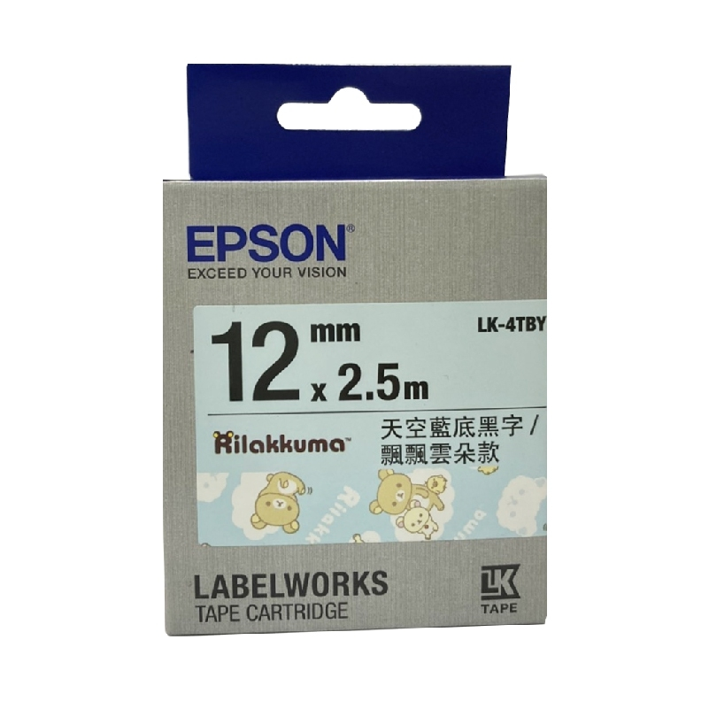EPSON LK-4TBY拉拉熊標籤帶 原廠標籤帶飄飄雲朵款 天空藍底黑字 寬度12mm