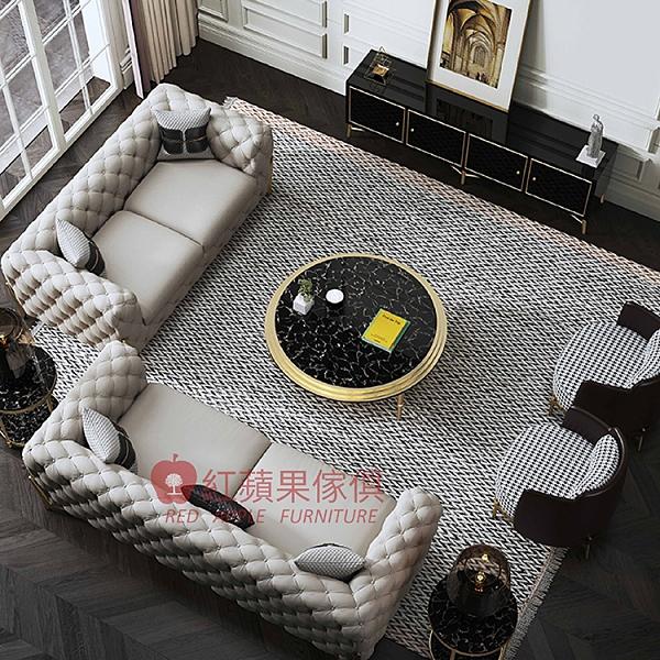 [紅蘋果傢俱] 輕奢風 S0005X 沙發 皮沙發 皮藝 真皮沙發 不鏽鋼 簡約 實木沙發 客廳 單人 雙人 三人