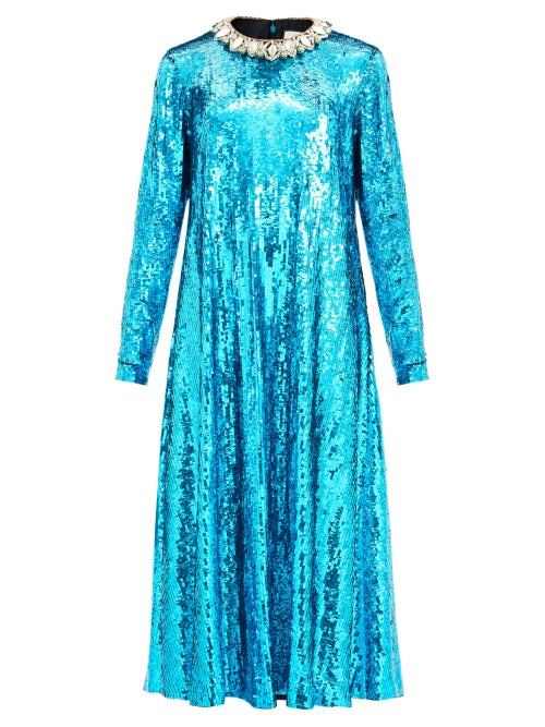 Gucci - Crystal-collar Sequined Midi Dress - Womens - Blue
