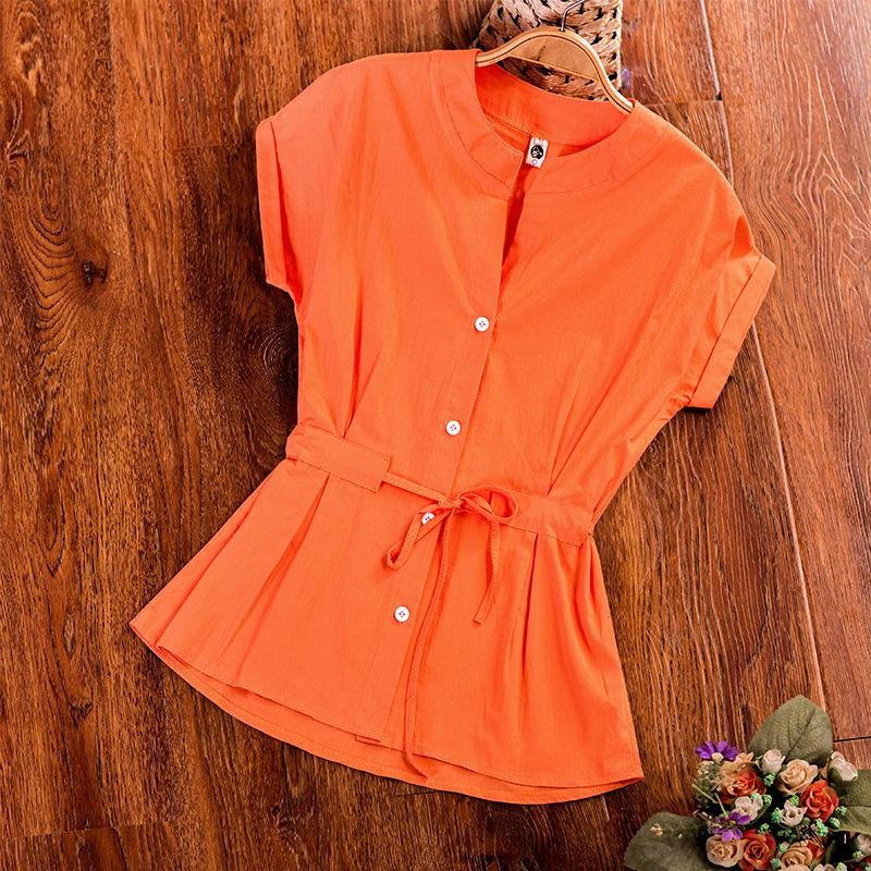 純棉短袖襯衫女2020新款夏季女裝韓版顯瘦系腰帶寬松休閑V領上衣