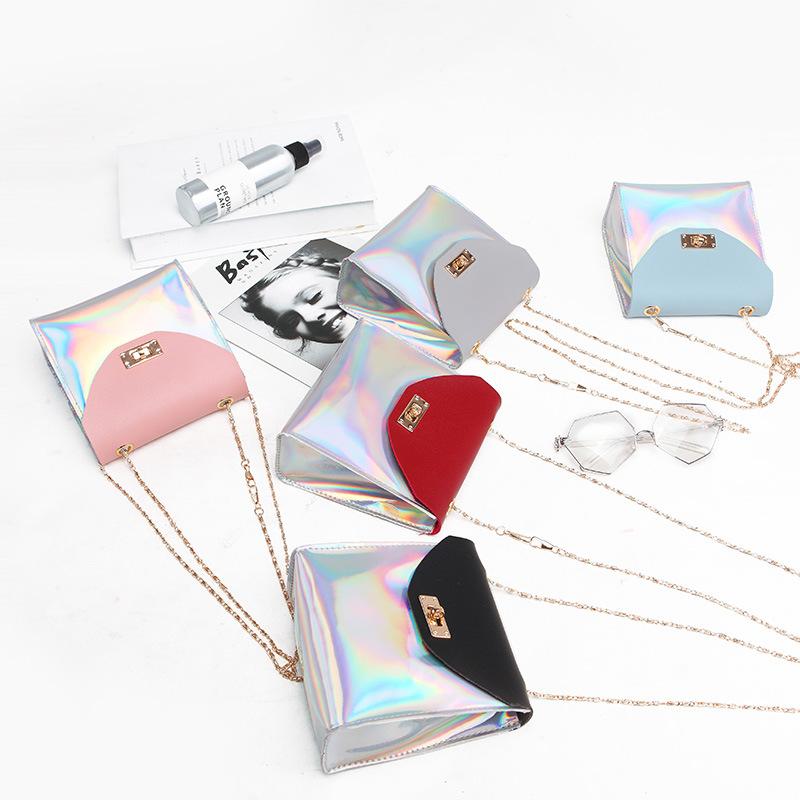 【免運】ins潮彩色亮面小方包 2020新款潮鏈條迷你小包手機零錢單肩斜挎包