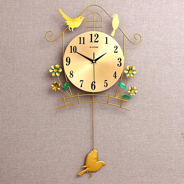 夜光鐘表掛鐘客廳個性創意簡約靜音臥室家用大氣現代時尚小鳥時鐘【新春特惠】