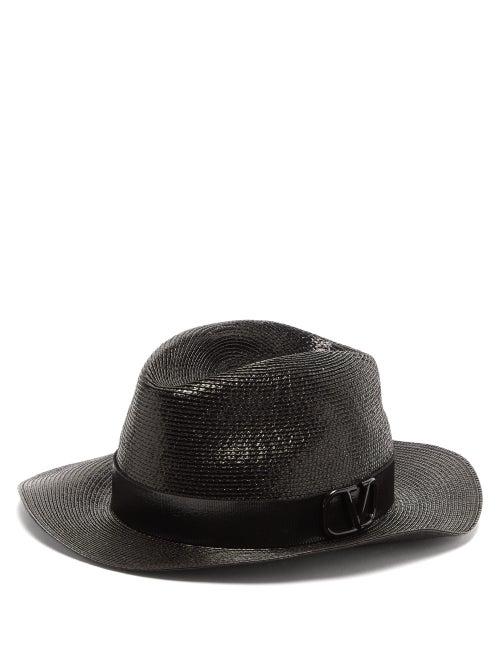 Valentino Garavani - V-logo Straw Fedora Hat - Womens - Black