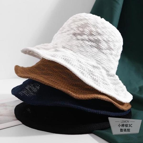 日系短發漁夫帽女出游防曬遮陽帽子百搭可折疊太陽帽【小檸檬3C】