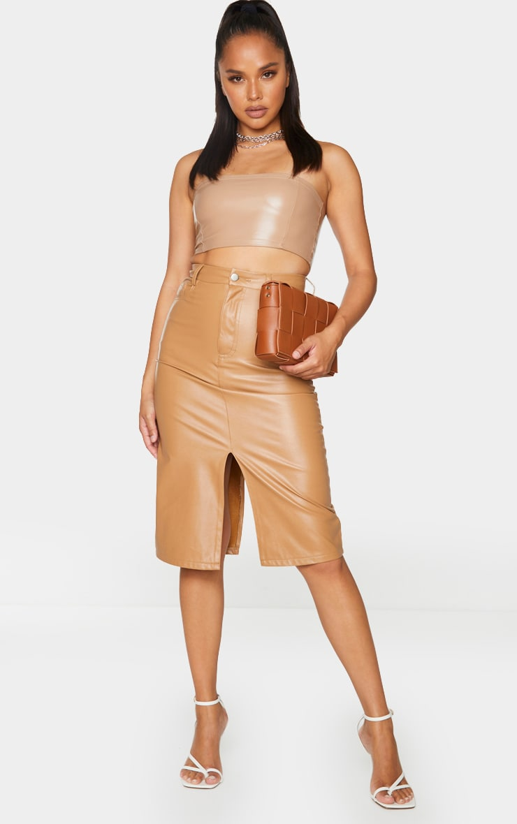 Camel Faux Leather Split Hem Midi Skirt