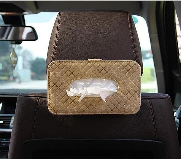扶手箱汽車用掛式紙巾盒車內椅后背頭枕綁帶夾遮陽板抽紙盒套『向日葵生活館』