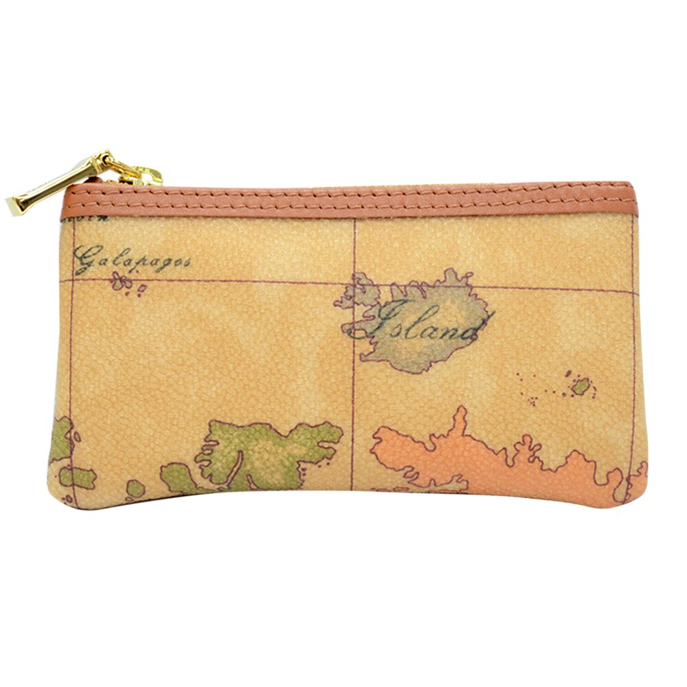 【Alviero Martini 義大利地圖包】鑰匙包-地圖黃