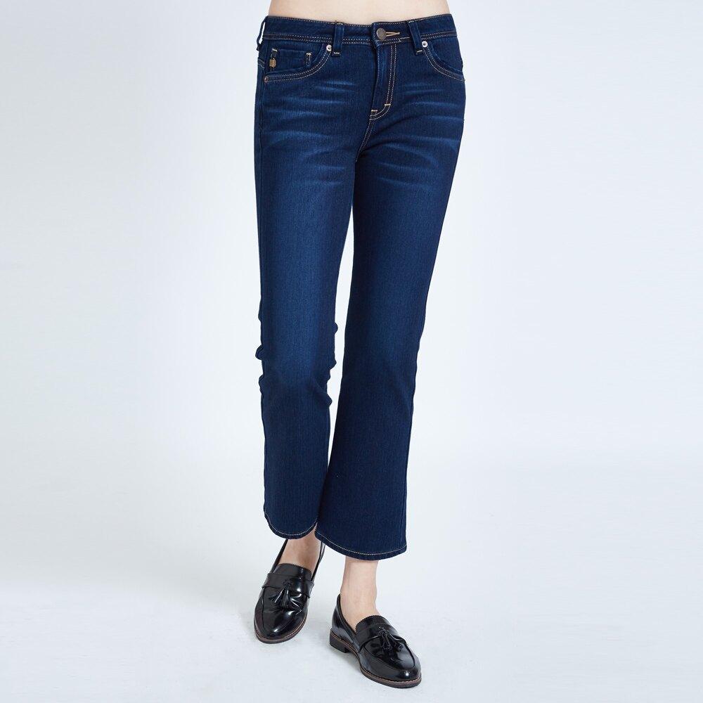 新降款↘SOMETHING NEO FIT 基本針織八分靴型牛仔褲-女款 酵洗藍 BOOTCUT