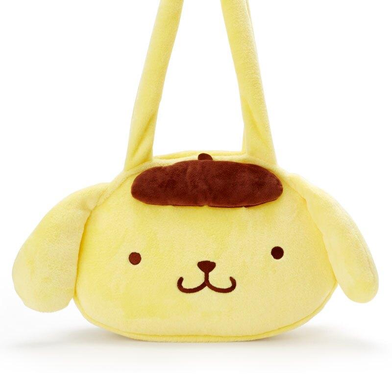 小禮堂 布丁狗 造型絨毛側背袋 大頭包 絨毛手提袋 側背包 (黃棕 大臉)