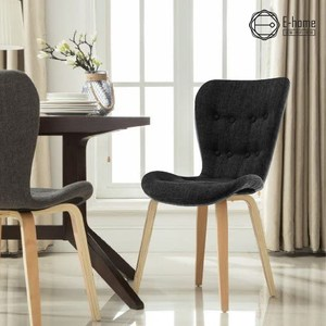 E-home Sioux舒克斯高背造型餐椅-三色可選黑色