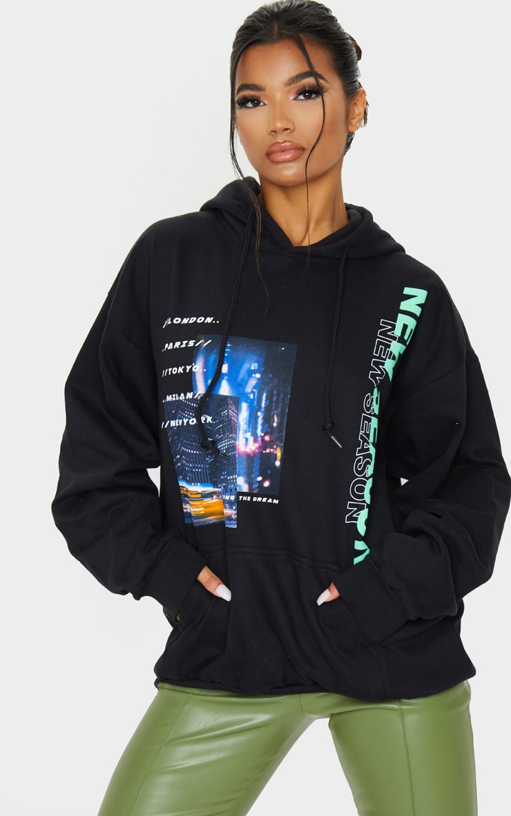 Black New Season City Oversized Printed Hoodie