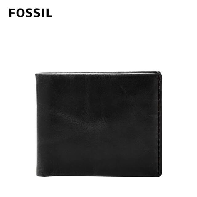 【FOSSIL】BECK 側縫線裝飾零錢好收納皮夾-黑色 ML4135001
