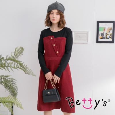 betty's貝蒂思 飾釦拼色長洋裝  (暗紅)