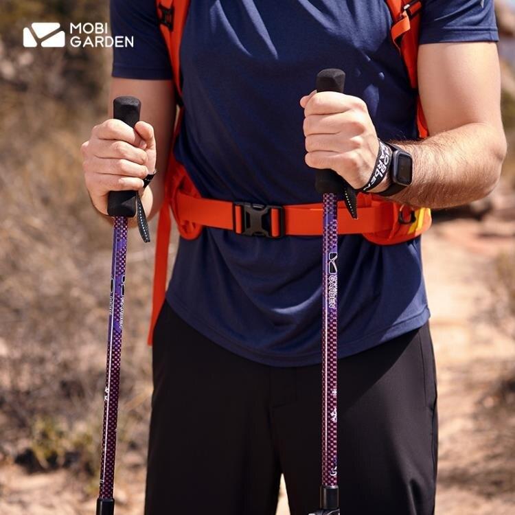 [快速出貨]登山杖 戶外徒步爬山全杖身碳纖維伸縮外鎖直柄棍登山杖AE 七色堇 新年春節送禮