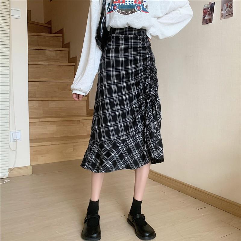 復古短裙 格子半身裙 A字裙 百搭 高腰 格子 抽繩 顯瘦 合身 中長款 A字裙
