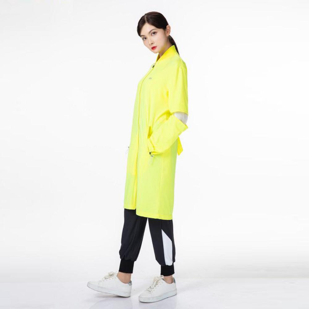 【HOII后益】袖口立體拼接長版拉鍊外套(三色:黃/紅/藍)