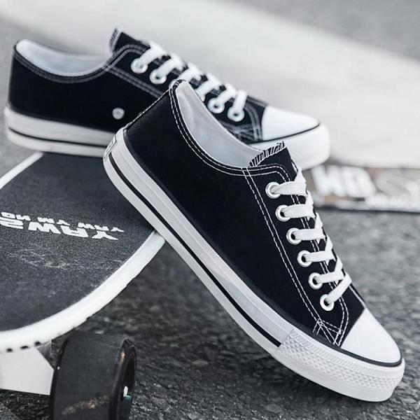 快速出貨 帆布鞋男士帆布鞋秋季新款低筒懶人潮鞋韓版一腳蹬男鞋休閒百搭潮鞋子男