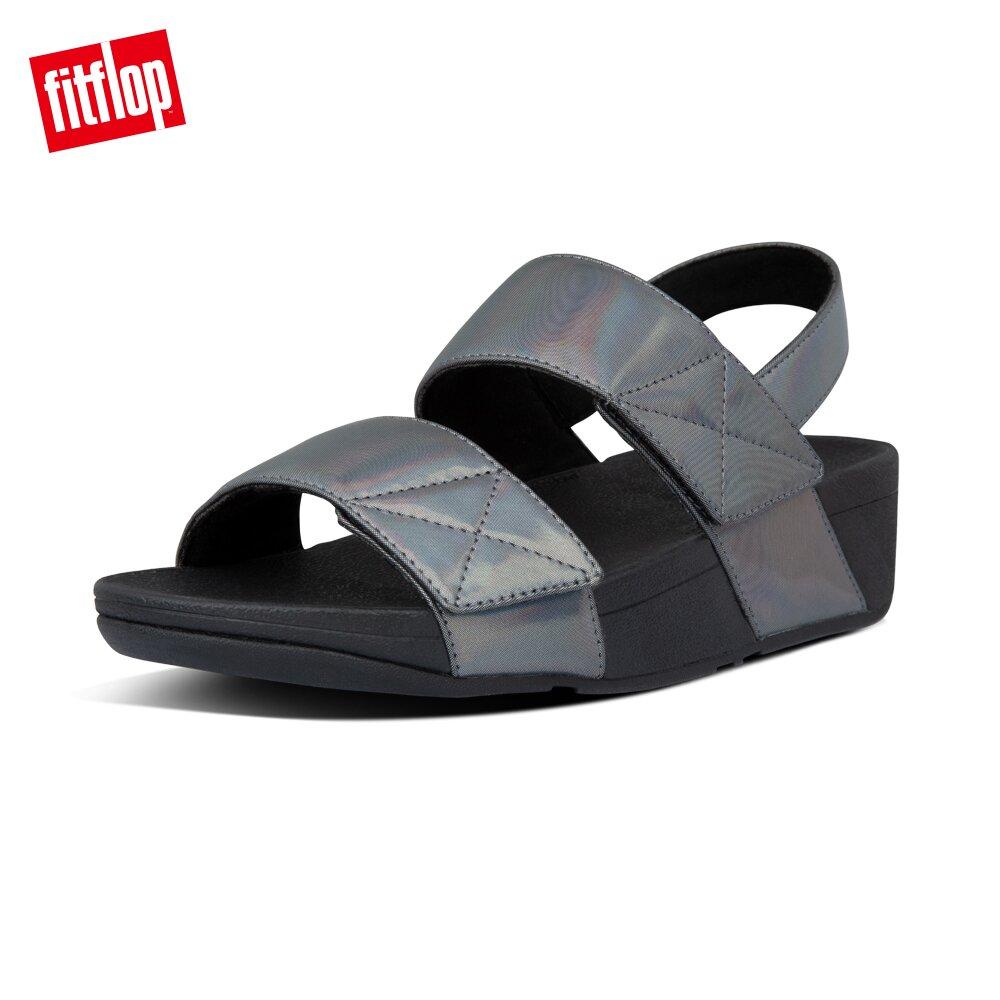【FitFlop】MINA IRIDESCENT BACK-STRAP SANDALS金屬光澤可調式後帶涼鞋-女(靓黑色)
