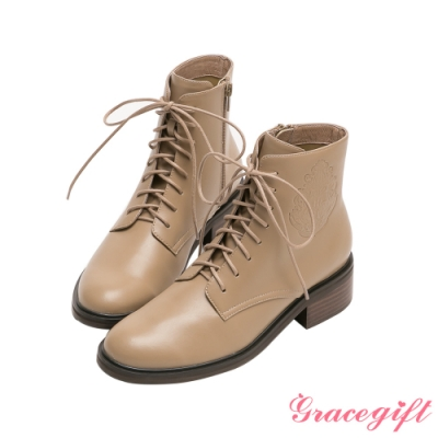 Grace gift-哈利波特霍格華茲徽章低跟短靴 灰褐