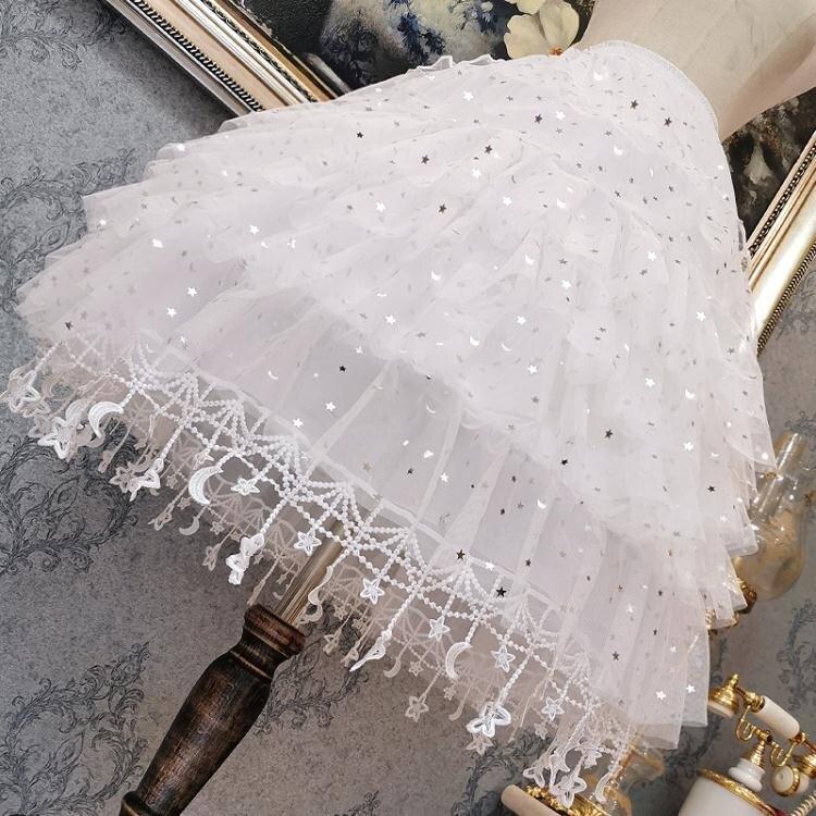lolita裙撐洛麗塔長款卡門襯裙暴力日常可調節魚骨撐星星裙撐-韓尚華蓮