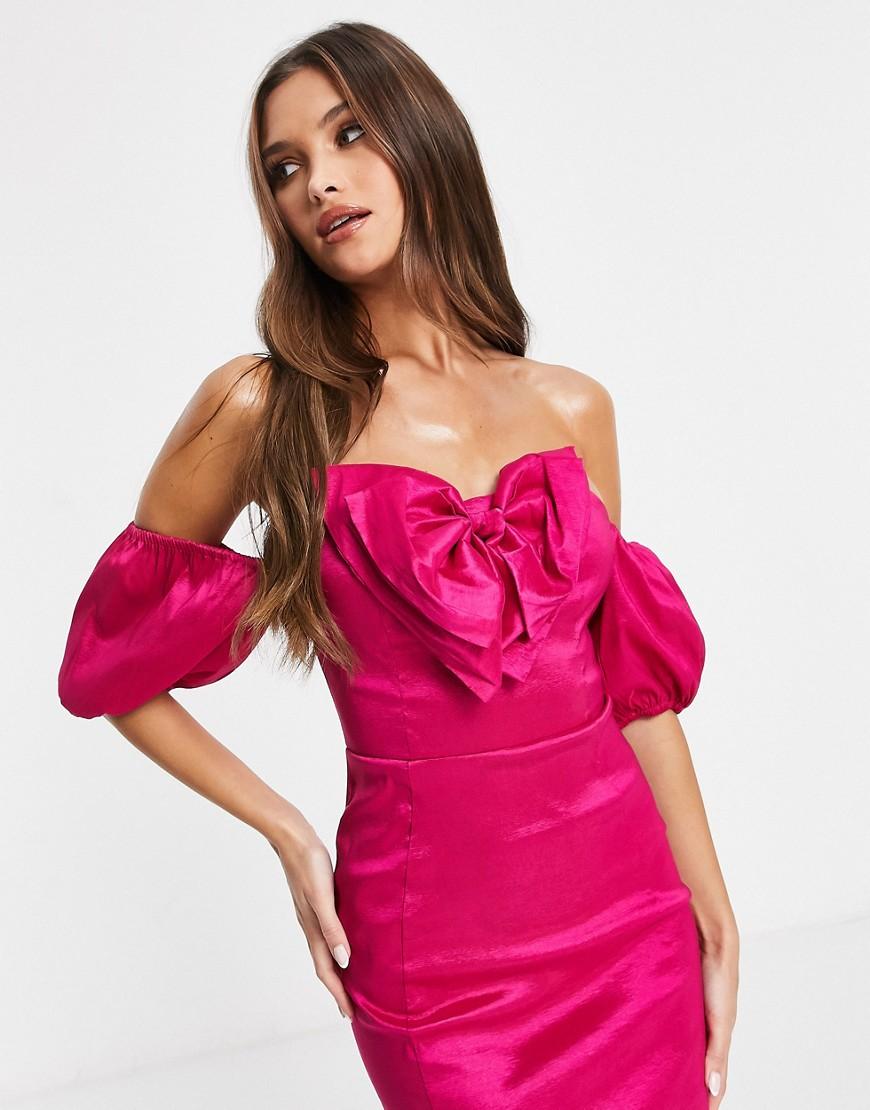 Rare London taffeta mini dress with bow detail in pink-Purple